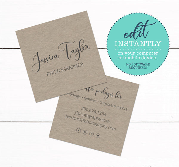 Kraft Rustic Farmhouse Square Business Card Template