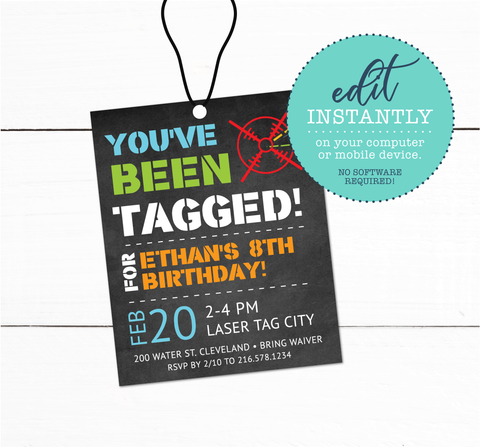 Laser Tag Birthday Party VIP Lanyard Card Invitation