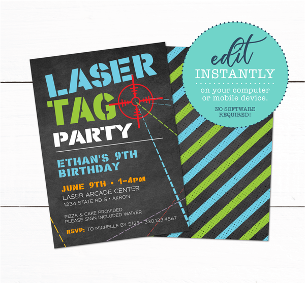 Laser Tag Birthday Party Printable Invitation Automatic Download