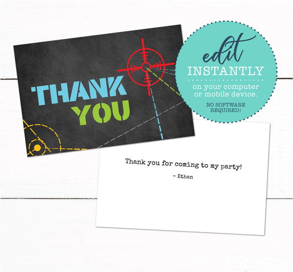 Laser Tag Birthday Party Thank You Card - Laser Tag Party Thank You - Printable Laser Tag Card - Boys Birthday Thank You Card - Pre teen