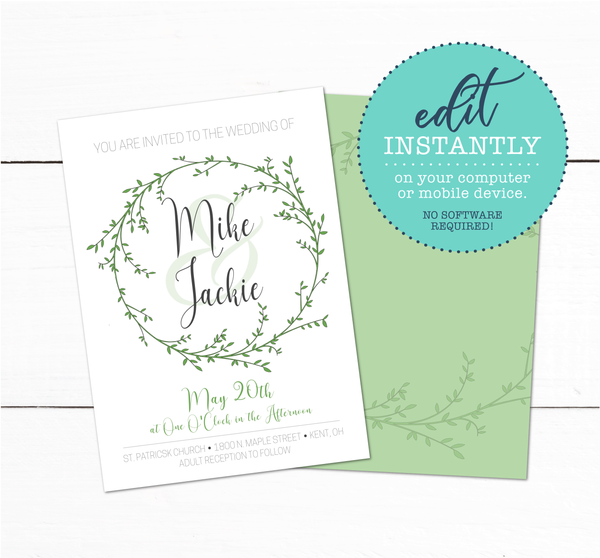 Laurel Wreath Spring Garden Wedding Invitation