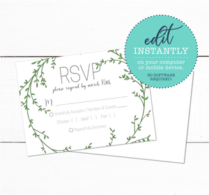 Laurel Wreath Spring Garden Wedding RSVP Card