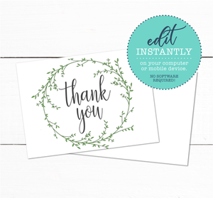 Laurel Wreath Spring Garden Wedding Thank You Card