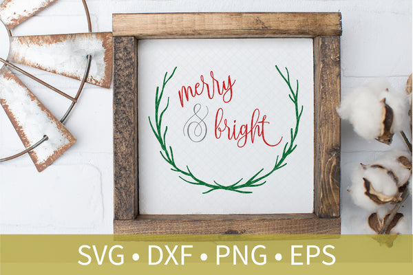 Laurel Wreath Merry and Bright svg dxf eps png file - Christmas svg dxf clipart - Christmas Decor DIY Craft - Christmas Sign Stencil