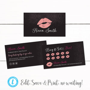 Lip Makeup Lipsense Business Car Punch Card - Customer Reward Card - Black Pink Glitter Lips - Lipstick Business Card - Lipstick Punch Card