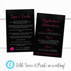 Lip Shadow Lipsense Tips Tricks Application Instruction Cards - Tips and Tricks Card - Customer Thank You Card - Application Card - Glitter