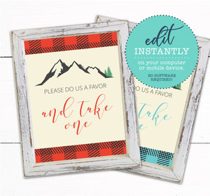 Buffalo Plaid Baby Shower Favor Sign