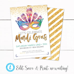 Mardi Gras Party Invitation Gold Purple Glitter Mask Feathers Invitation