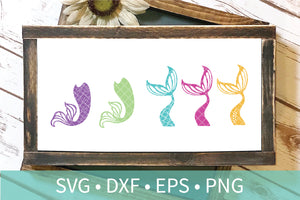 Mermaid Tail Fin Scales SVG DXF PNG Clipart File