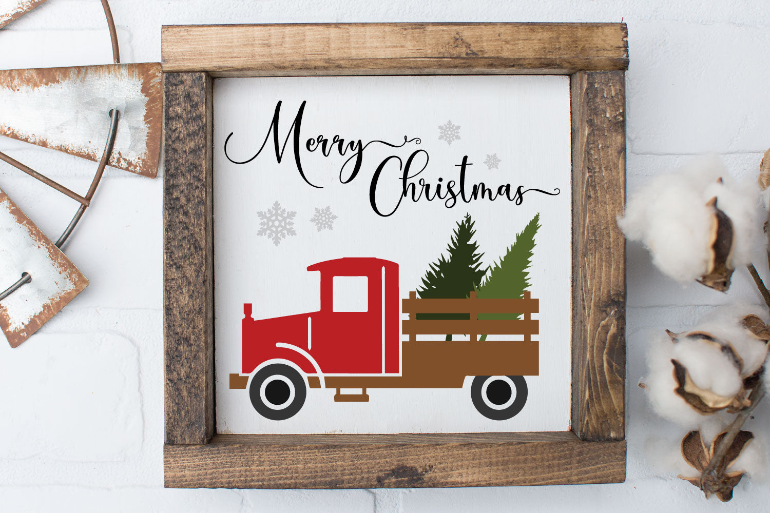 Red Vintage Christmas Tree Truck