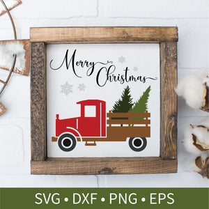 Vintage Red Truck Christmas Tree Sign svg dxf png eps Silhouette Cutting Craft File