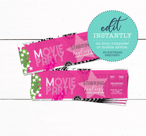 Movie Theater Ticket Birthday Party Invitation