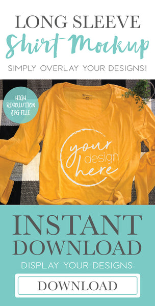 Mustard Yellow Long Sleeve Shirt Mockup