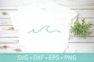 Ocean Wave SVG DXF Silhouette Cutting Screen Print Clipart File