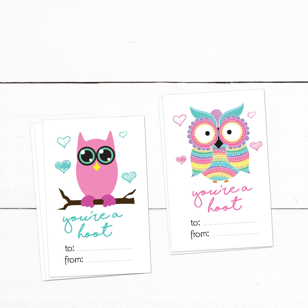 Owl Valentines Day Cards - Kids Valentines Cards - Printable Valentines Day Cards - Owls - Valentine Card Template - Automatic Download