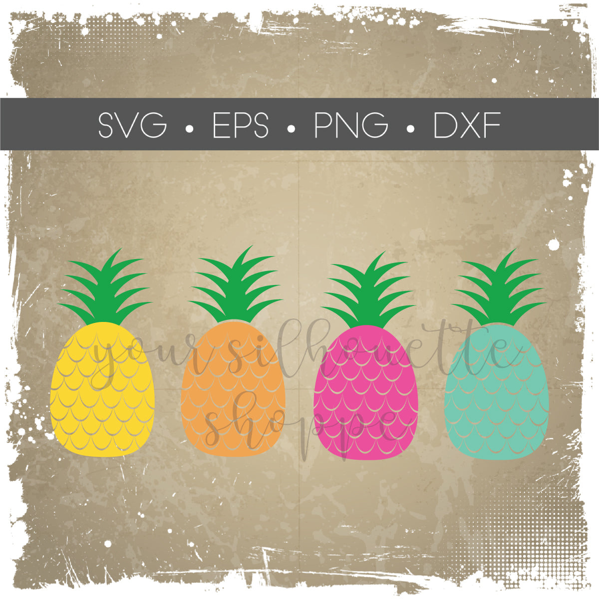 Pineapple SVG EPS DXF PNG Silhouette Cutting Files