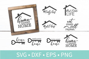 Real Estate House Warming Sign Bundle SVG DXF EPS Silhouette Cut File