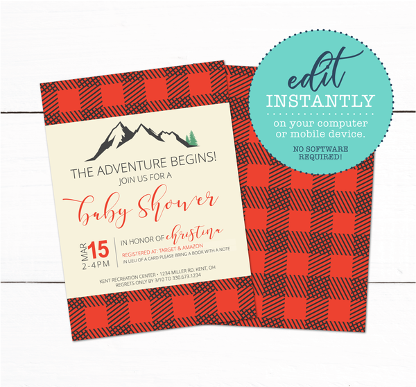 Buffalo Plaid Mountains Baby Shower Invitation