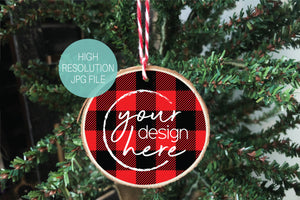 Red Lumberjack Plaid Wood Slice Ornament Mockup