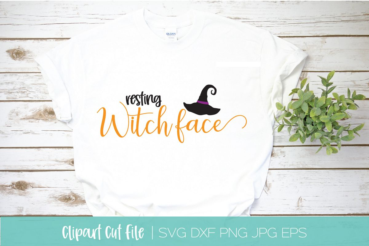 Resting Witch Face SVG DXF EPS Silhouette Cut File