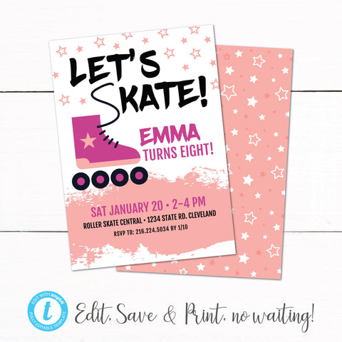 Girls Roller Skating Birthday Party Invitation