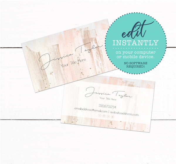 Rose Gold Paint Brush Strokes Business Card Template