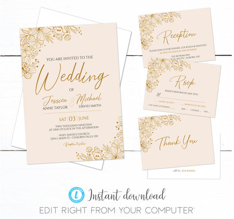 Rose Gold Floral Wedding Invitation Set