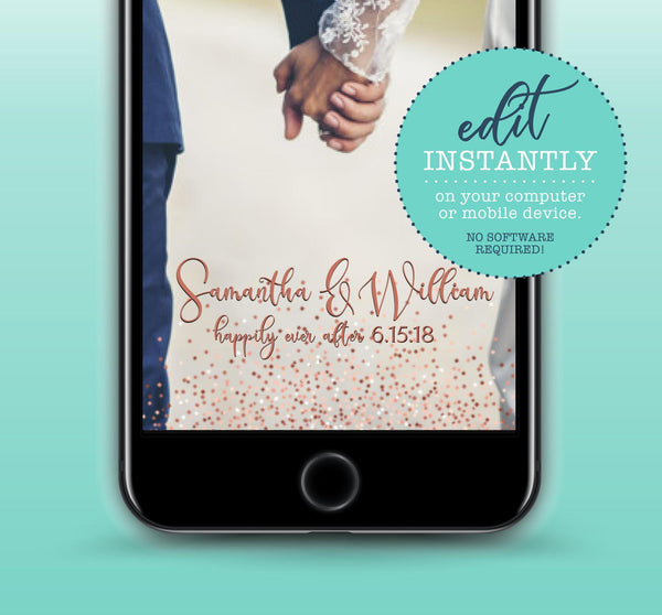 Rose Gold Glitter Wedding Anniversary Bridal Shower Snapchat Geofilter