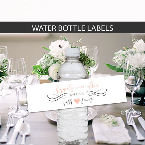 Rose Gold Wedding Water Bottle Label Favors