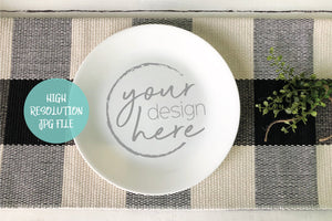 Round White Plate Mockup - Buffalo Plaid Background