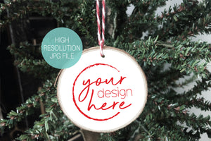 White Circle Wood Slice Christmas Ornament Mockup