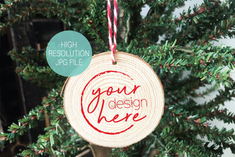 Wood Slice Ornament Mockup