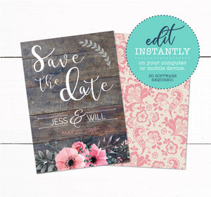 Save The Date Wedding Invitation - Wood Rustic Floral Invitation