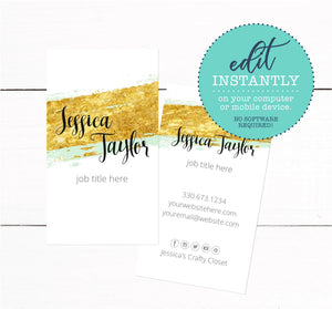 Seafoam Gold Glitter Paint Brush Business Card Template