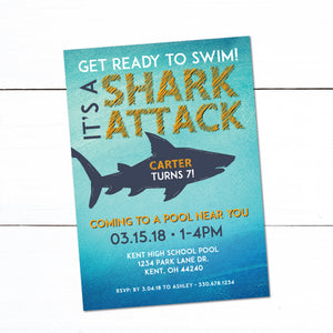 Shark Attack Swim Party Birthday Invitation - Swim Party Invitation - Shark Theme Party - Swim Party - Birthday Party Invitation - Ocean