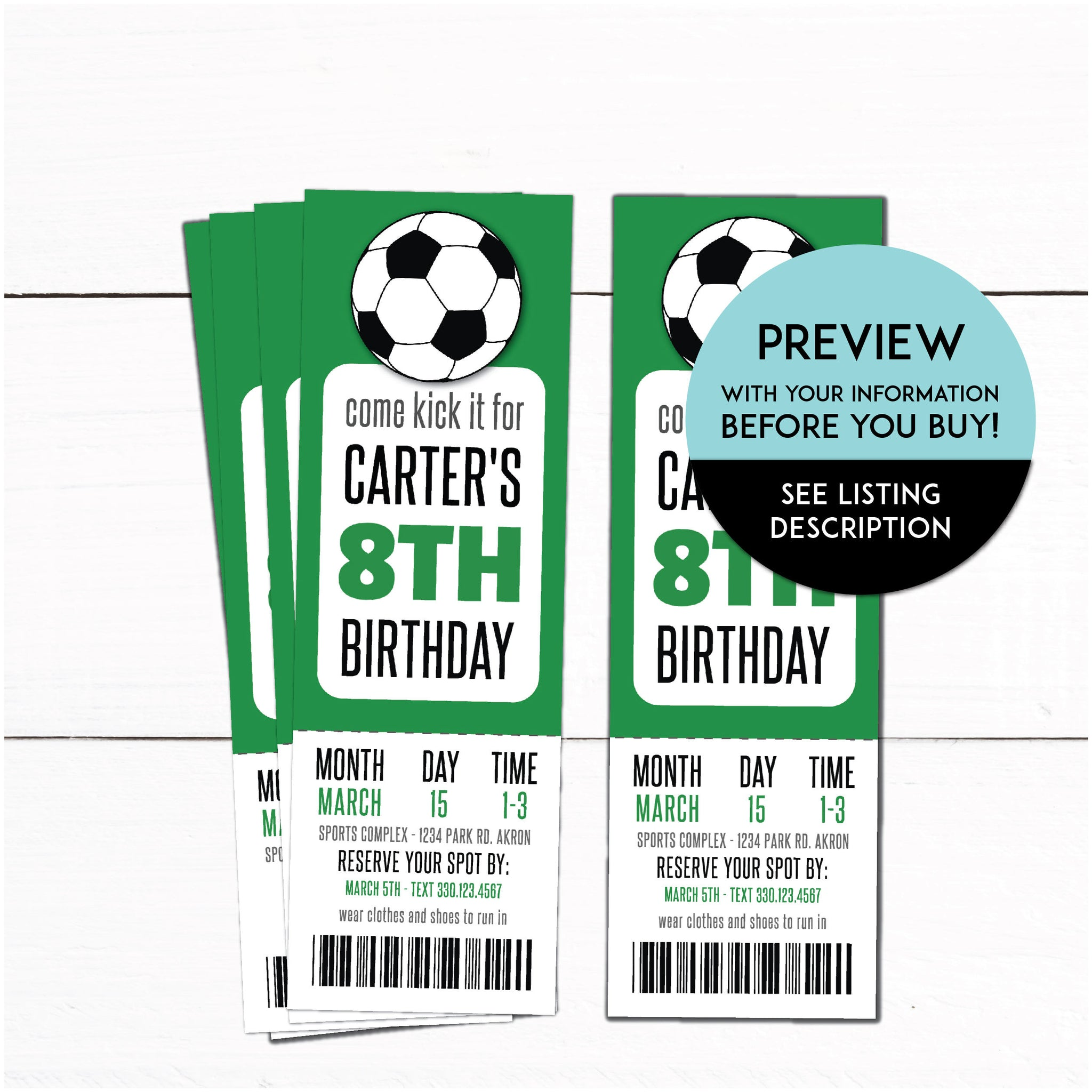 Soccer Invitations Soccer Party Supplies Soccer Birthday Party Ticket Invitations Soccer Birthday Party Decor