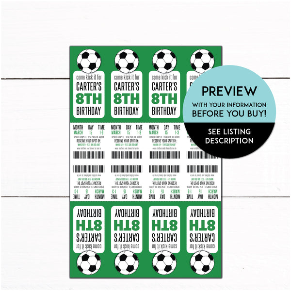 Soccer Birthday Party Ticket Invitation - Kids Soccer Printable Invite - Soccer Invitation - Soccer theme party - Automatic Download
