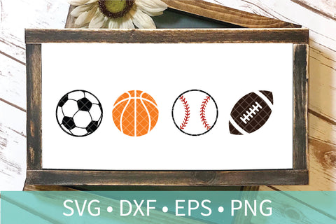 Soccer Ball Basketball Baseball Football SVG DXF PNG Clipart Cut File