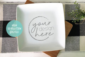 Square White Dinner Plate Mockup | Cookie Plate Mockup