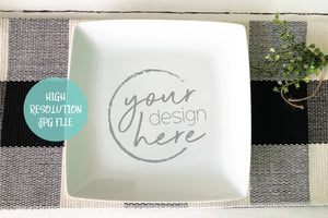 Square White Plate Mockup | Cookie Plate Mockup