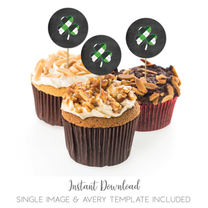 St Patricks Day Shamrock Theme 2 Inch Cupcake Topper Favor Stickers