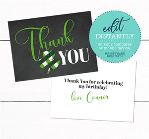 St Patricks Day Irish Shamrock Clover Birthday Party Thank You Card