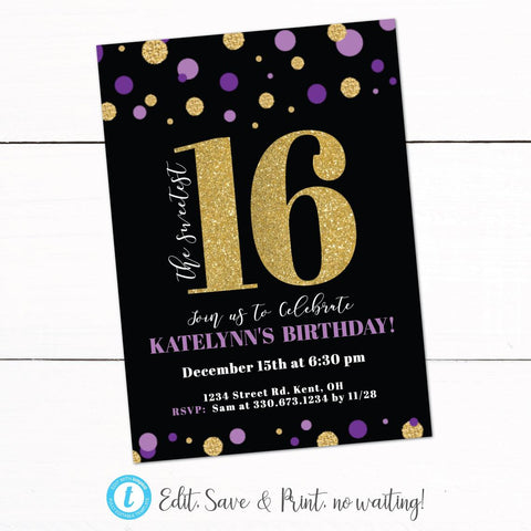 Gold Purple Glitter Sweet 16 Birthday Party Invitation