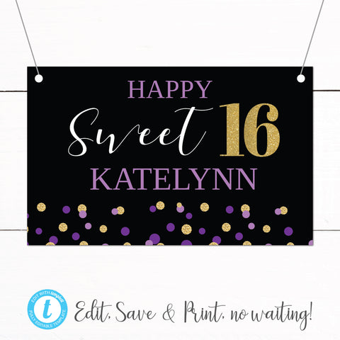 Gold Purple Glitter Sweet 16 Birthday Party Banner