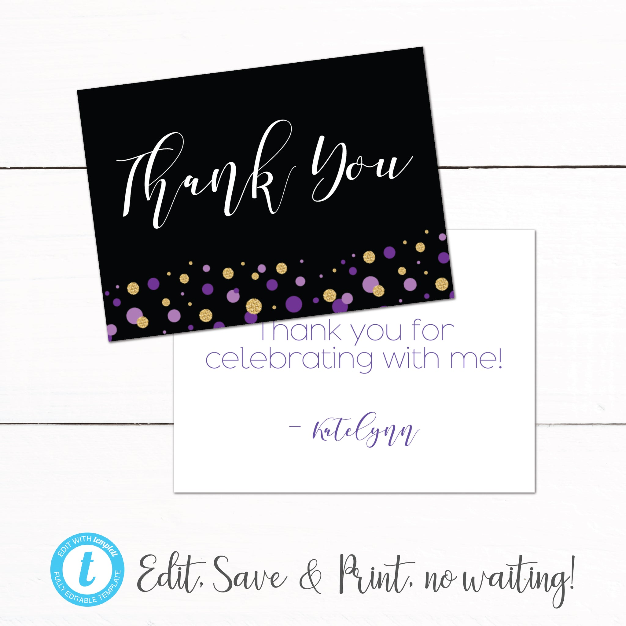 Gold Purple Glitter Thank You Card