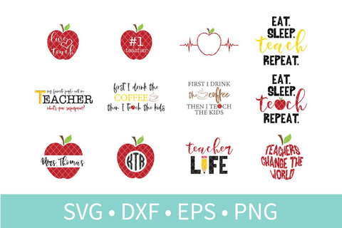 Teacher Appreciation Bundle SVG DXF EPS Silhouette Cut File