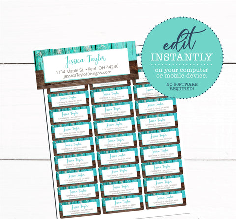 Teal Wood Rustic Address Label