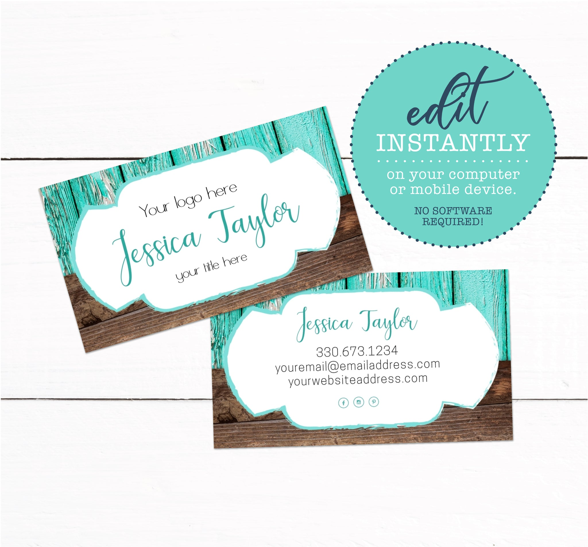 Teal Wood Rustic Business Card