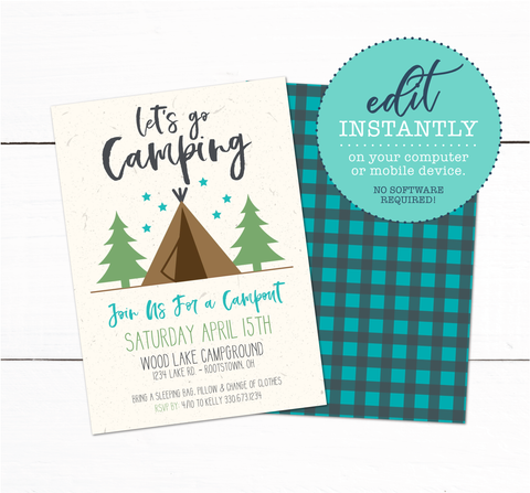 Tent Camping Campout Sleepover Birthday Party Invitation