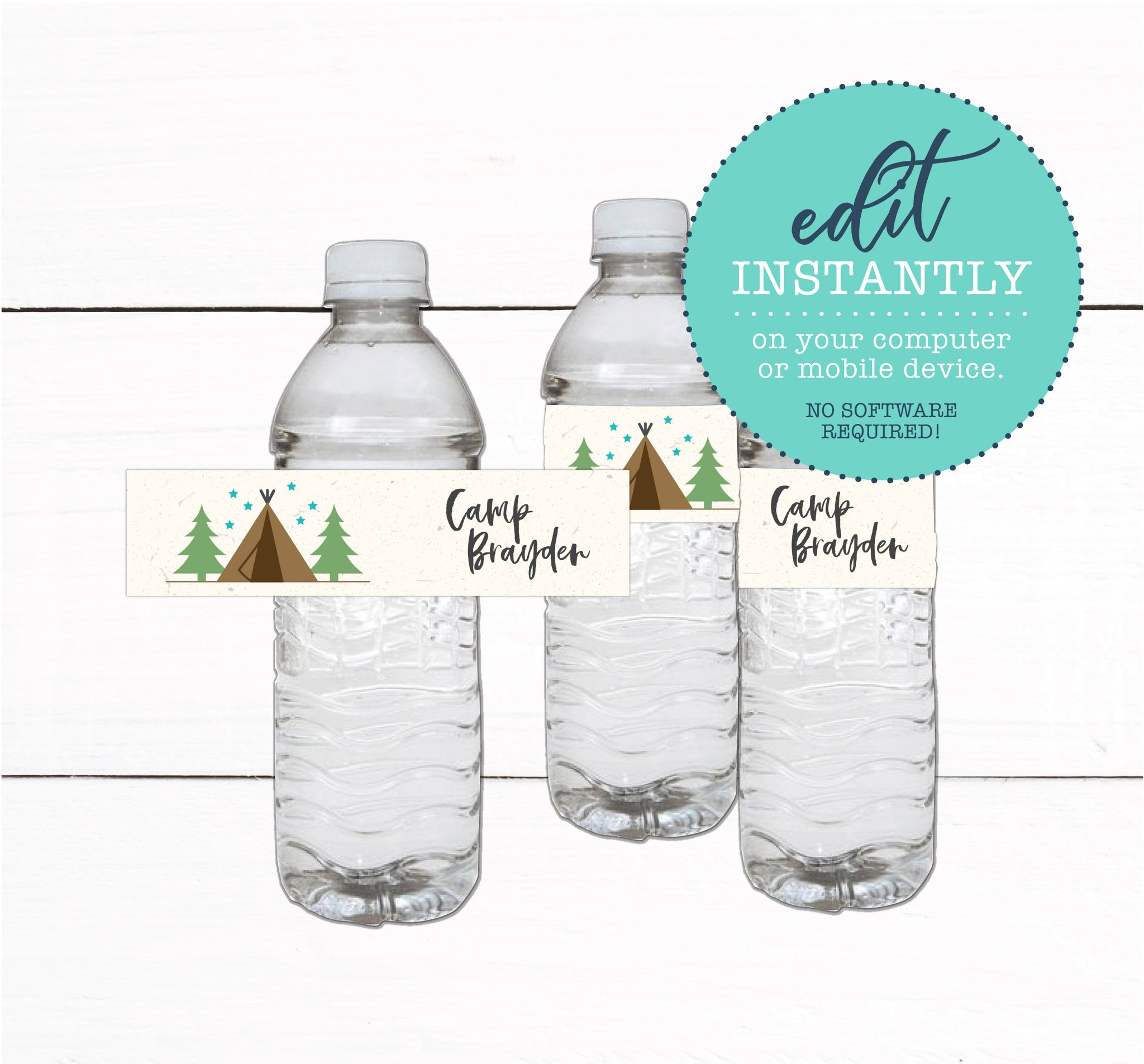 Tent Campout Sleepover Birthday Party Water Bottle Label Favors